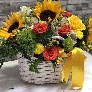 Coș cu floarea soarelui