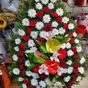 Coroană funerară flori mixte