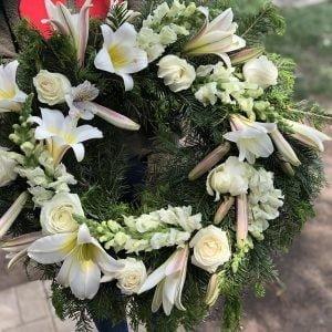 Coroniță funerară albă