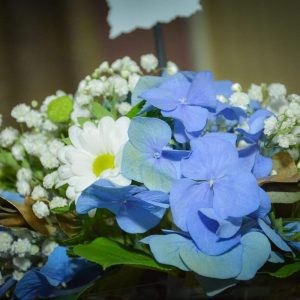 Aranjament de masă cu hortensie