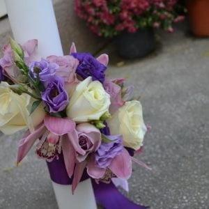 Lumânări de cununie cu trandafiri și cymbidium